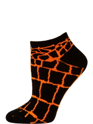 Wild Thing Women's Animal Print No Show Socks - 1 Pair - Black/Orange Snake