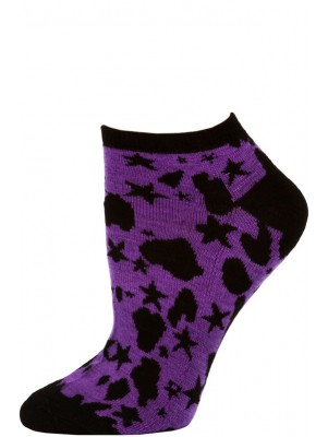 Wild Thing Women's Animal Print No Show Socks - 1 Pair - Black/Purple Star Cheetah