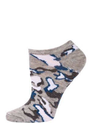Chatties Women's Camo Print No Show Socks - 1 Pair - Light Grey