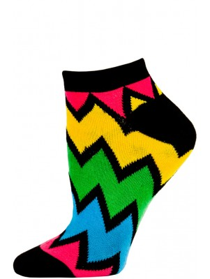 Chatties Women's Zig-Zag Chevron Low Cut Socks - 1 Pair - Black Multi