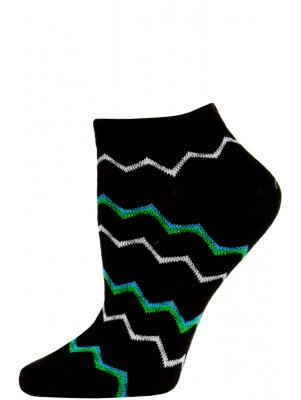 Chatties Women's Zig-Zag Chevron Low Cut Socks - 1 Pair - Black/Green Multi