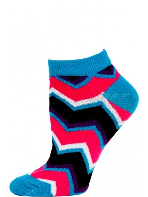Chatties Women's Zig-Zag Chevron Low Cut Socks - 1 Pair - Blue/Black/Pink