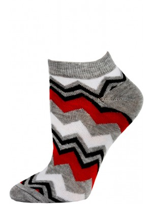 Chatties Women's Zig-Zag Chevron Low Cut Socks - 1 Pair - Grey/Red Multi