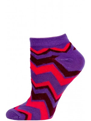 Chatties Women's Zig-Zag Chevron Low Cut Socks - 1 Pair - Purple/Pink