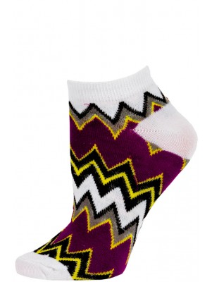 Chatties Women's Zig-Zag Chevron Low Cut Socks - 1 Pair - White/Purple/Yellow