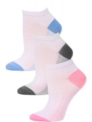 NYC Underground Women's No Show Socks - 3 Pairs - Light Pink/Grey/Light Blue -3