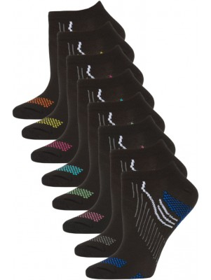 Gina Group Women's No Show Sport Socks - 8 Pairs - Black with Basic Trim