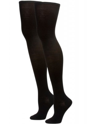 Sockaholic Women's Solid Ribbed Over the Knee Socks - 2 Pair - Black