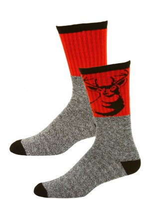 Big Jack's Men's Insulated Thermal Boot Socks - 2 Pairs - Red/Black Deer