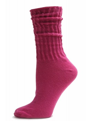 Dark Pink Cotton Slouch Socks - 1 Pair