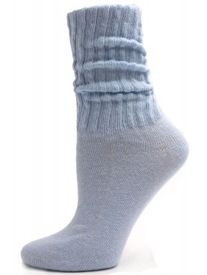 Light Blue Cotton Slouch Socks - 1 Pair