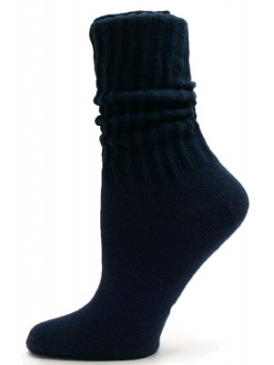Navy Blue Cotton Slouch Socks - 1 Pair