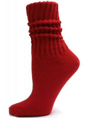 Red Cotton Slouch Socks - 1 Pair