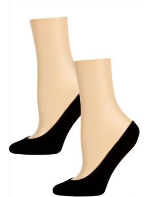 Steve Madden Solid Color Microfiber Footie Liner Socks - 2 Pairs - Black