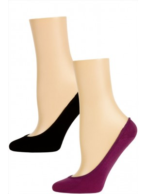 Steve Madden Solid Color Microfiber Footie Liner Socks - 2 Pairs - Purple and Black