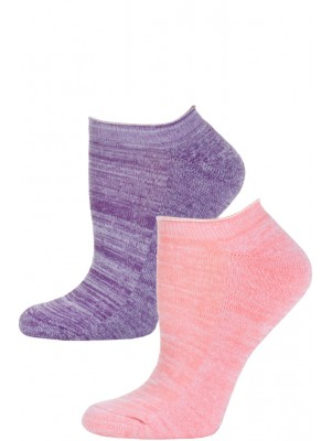 Steve Madden Marled Pastel No Show Socks - 2 Pairs - Pastel Pink and Purple
