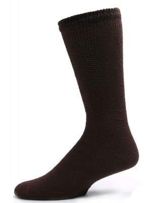 Sole Pleasers Men's Brown Diabetic Crew Socks - 3 Pairs