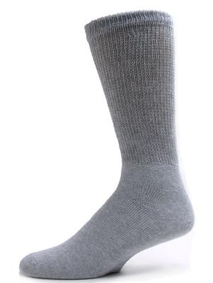 Sole Pleasers Men's Grey Diabetic Crew Socks - 3 Pairs