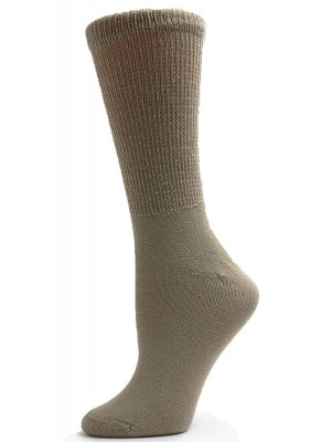 Sole Pleasers Women's Tan Diabetic Crew Socks - 3 Pairs