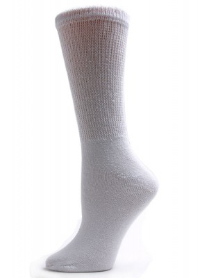 US Sock Company Women's White Diabetic Crew Socks - 3 Pairs