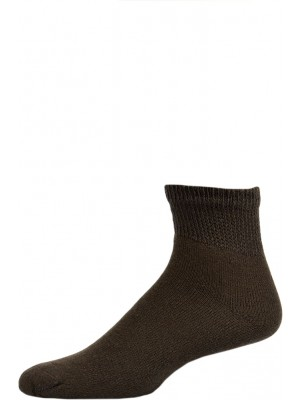 Sole Pleasers Men's Brown Diabetic Quarter Socks - 3 Pairs