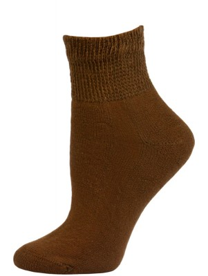 Sole Pleasers Women's Brown Diabetic Quarter Socks - 3 Pairs