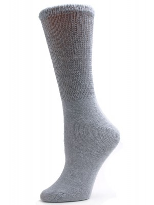 Sole Pleasers Women's Grey Diabetic Crew Socks - 3 Pairs