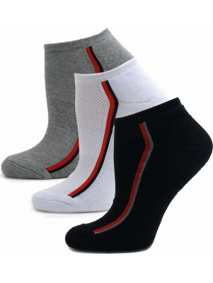 Running Mate Women's Striped Socks - 3 Pairs - Assorted (Black, White, Gray)