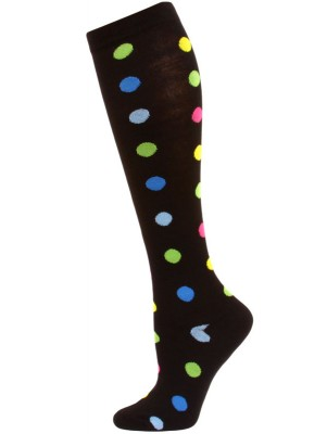 Julietta Polka Dot Knee Socks - 1 Pair - Black/Multi