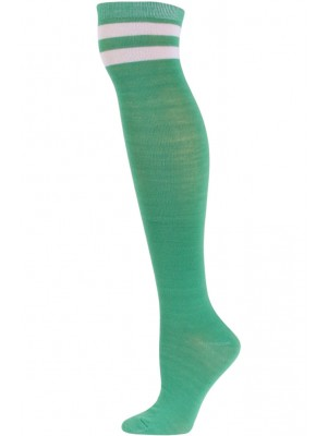 Julietta Retro Stripe Over the Knee Socks - 1 Pair - Green