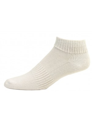 Fine Fit Dream Field Men's White Cotton Quarter Socks - 3 Pairs