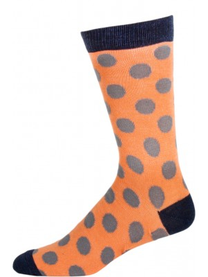 Fine Fit Men's Polka Dot Dress Socks - 1 Pair - Salmon with Gray Dots
