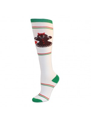 Merry Christmas Women's Knee Socks - 1 Pair - White with Gingerbread Cookies