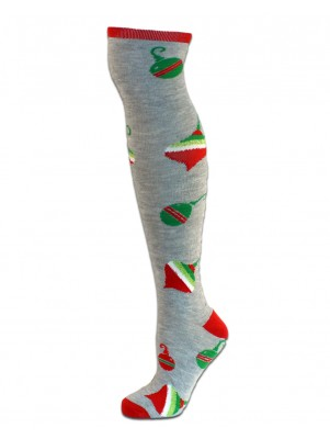Merry Christmas Women's Knee Socks - 1 Pair - Gray with Ornaments