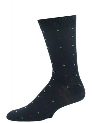 John Weitz Men's Patterned Dress Socks - 1 Pair - Navy with Multicolor Squares