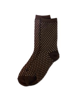 K. Bell Women's Pindot Crew Socks - Chestnut Brown