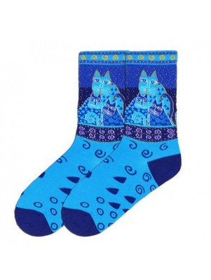 K. Bell Women's Blue Felines Socks