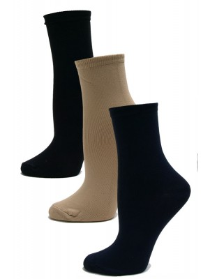 Chatties Women's Microfiber Ankle Socks - 3 Pairs - Black, Tan, Navy