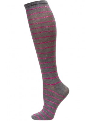 Sockaholic Women's Metallic Stripe Knee Sock - 1 Pair - Gray / Pink