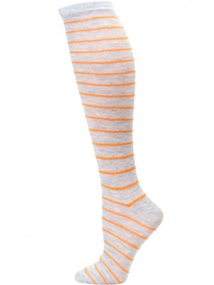 Sockaholic Women's Metallic Stripe Knee Sock - 1 Pair - Grey / Gold