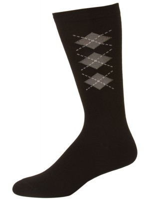 John Weitz Platinum Collection Men's Argyle Socks - 1 Pair - Black and Gray