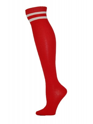 Julietta Retro Stripe Over the Knee Socks - 1 Pair - Red