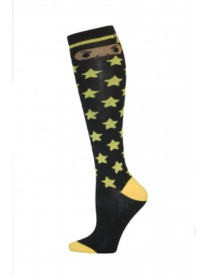 Yelete Ninja Star Knee Socks - 1 Pair - Black