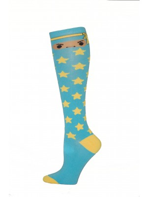 Yelete Ninja Star Knee Socks - 1 Pair - Light Blue