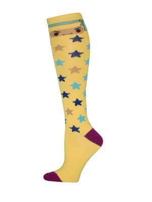 Yelete Ninja Star Knee Socks - 1 Pair - Yellow