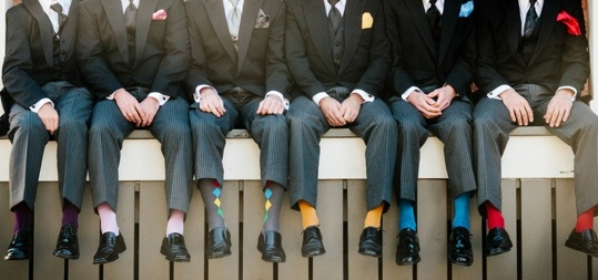 Dress up your groomsmen's socks with fun colors