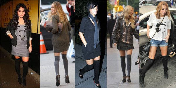 celebrities wearing thigh high socks