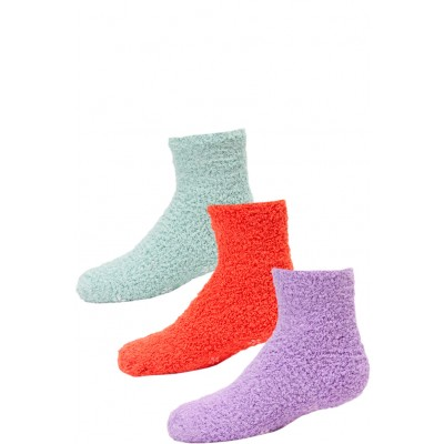 Kid's Cozy Slipper Crew Socks - 3 Pairs - Purple, Orange, Mint Green