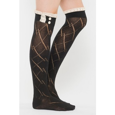 Diamond Pattern Boot Sock Liner - Black
