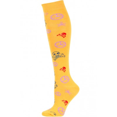 Yelete Peace Sign & Skulls Knee Socks - 1 Pair - Orange Multi